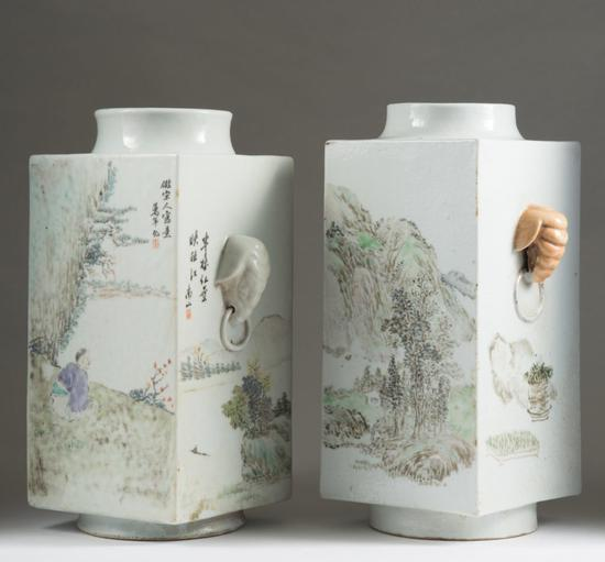 两个中国方瓶也以超过拍卖预估的价格成交。图片:致谢iGavel Auctions