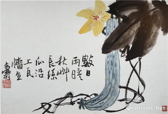 图5、潘天寿《丝瓜》