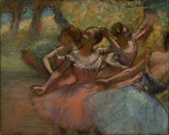 德加,《Four Ballet Dancers on Stage》(约1885–90)。图片:Courtesy of the Museu de Arte de S?o Paulo
