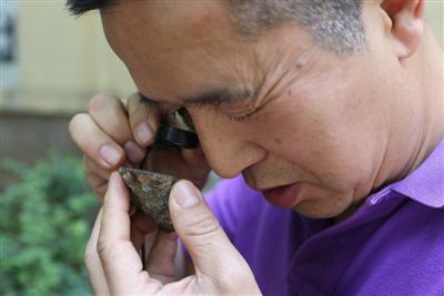 """成都理工大学博物馆矿物研究专家陈志刚检测黄兴元收藏的疑似""""陨石"""""""