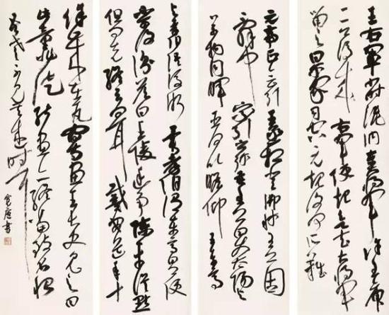 李大旺《大草四条屏》(2014级研究生)