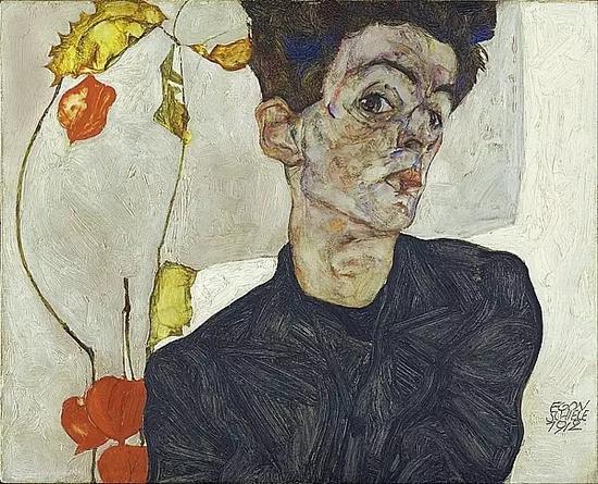 《自画像》,席勒,1912