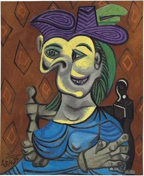 《静坐的蓝袍女子》,毕加索,估价:3500万——5000万美金