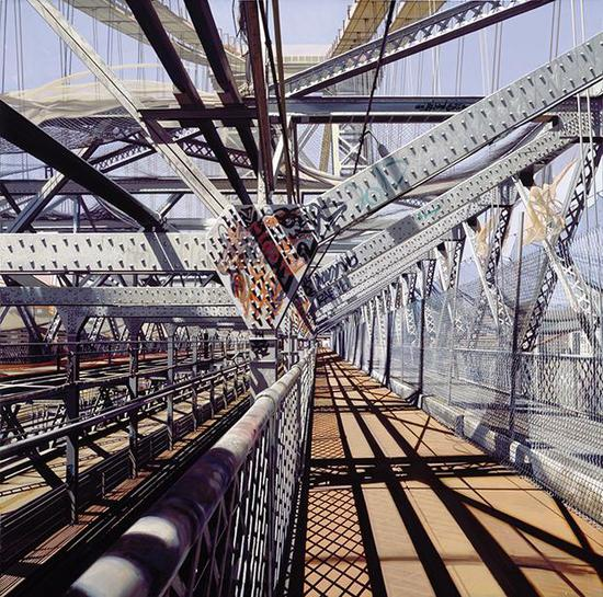理查德・埃斯蒂斯的画作《Williamsburg Bridge》