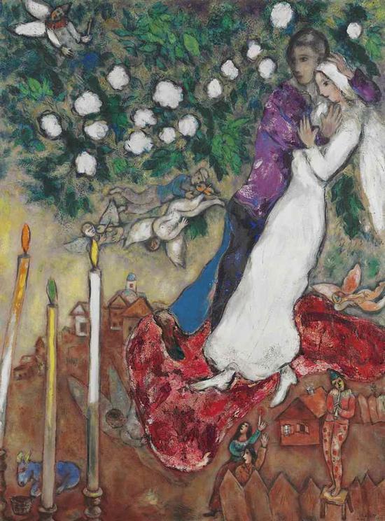 马克・夏加尔(1887-1985)《三支蜡烛》估价:800万 ― 1200万美元  成交价: 1458.35万美元