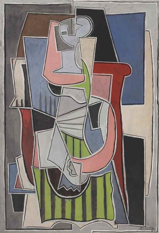巴布罗?毕加索(1881-1973)《坐在扶手椅上的女人》 估价:2000万 ― 3000万美元  成交价: 3048。万美元