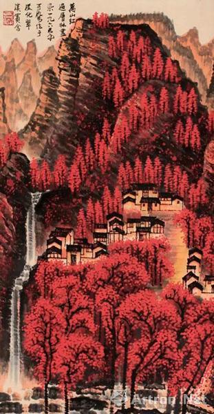《万山红遍》原是北京荣宝斋的旧藏,在2000年由北京荣宝斋拍卖拍出