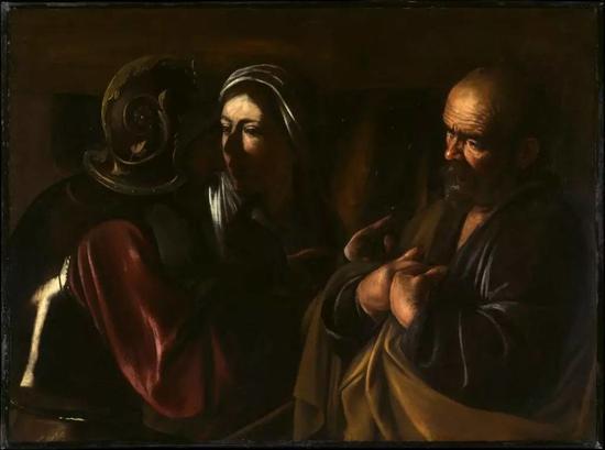 卡拉瓦乔,《圣彼得的否认》(The Denial of StPeter ,1610)。图片:致谢纽约大都会艺术博物馆