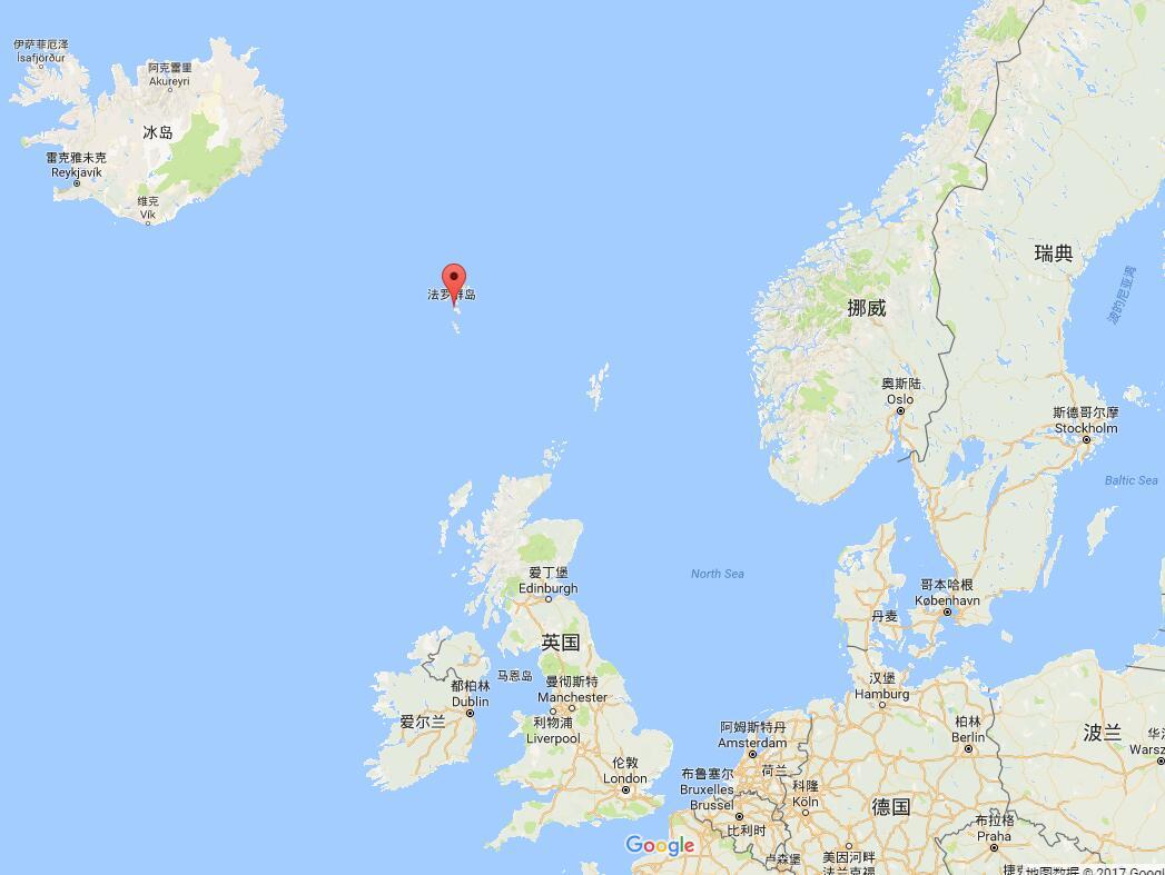 法罗群岛位置(图中红点处,谷歌地图截图)