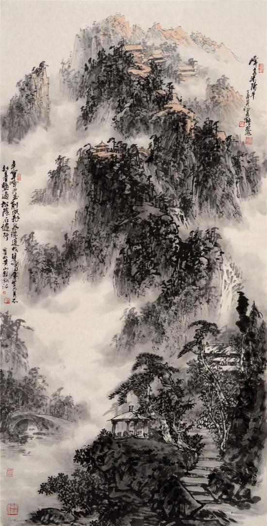 《峰高沐阳早》138x70cm