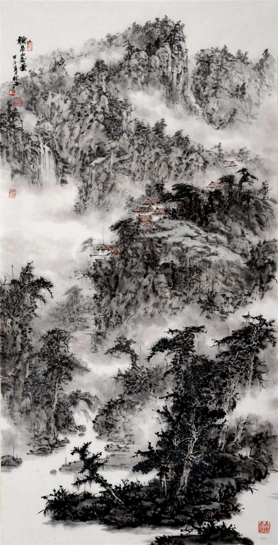 《听泉山居图》138x70cm