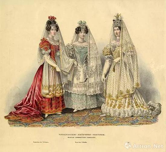 穿着加冕礼服的匈牙利贵族女子们