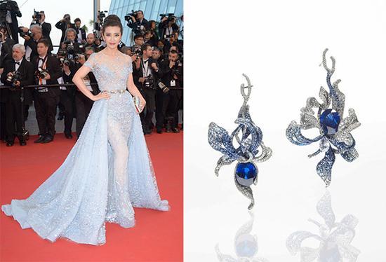 2015年李冰冰亮相戛纳,冰蓝色的礼服搭配蓝宝石花卉形状耳环,耳环亦是赵心绮的作品。