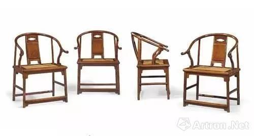 明十七世纪 黄花梨圈椅一套四张
