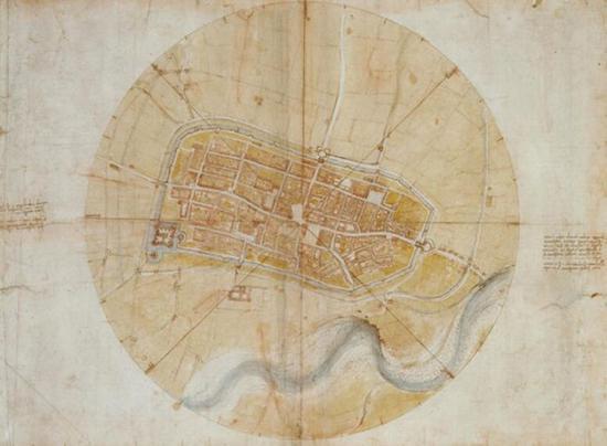 """达·芬奇唯一成为现实的""""发明"""" Imola地图。"""