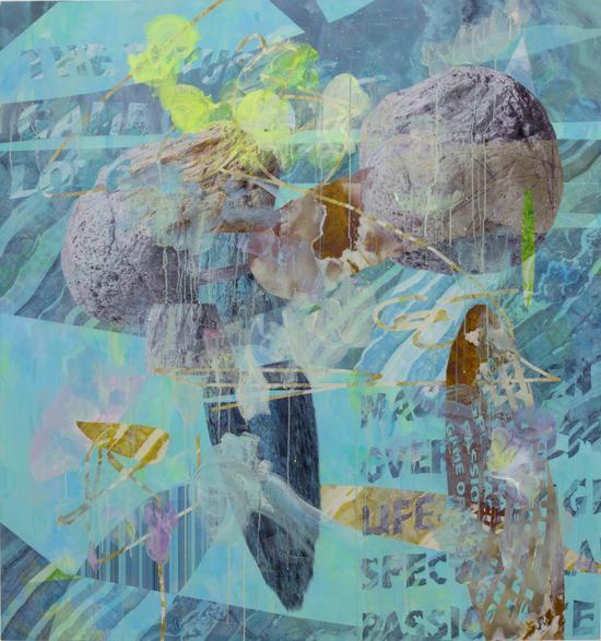 王墒,《爱情游戏119号》,2017,丙烯和丝网印刷,150 x 150 cm。图片:致谢魔金石画廊