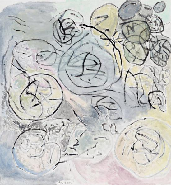 余友涵,《大土豆》,2007,丙烯画,185 x 172 cm。图片:致谢香格纳画廊