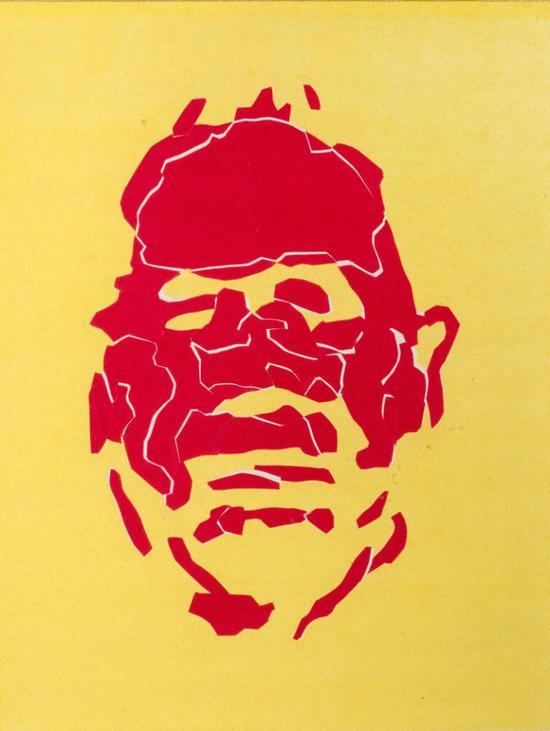 耿建翌,《无法命名》,1996,油画和裁纸,24 x 18 cm。图片:致谢香格纳画廊