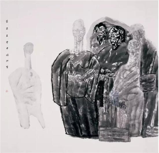 《农民工》纸本水墨190cm×190cm 2004年