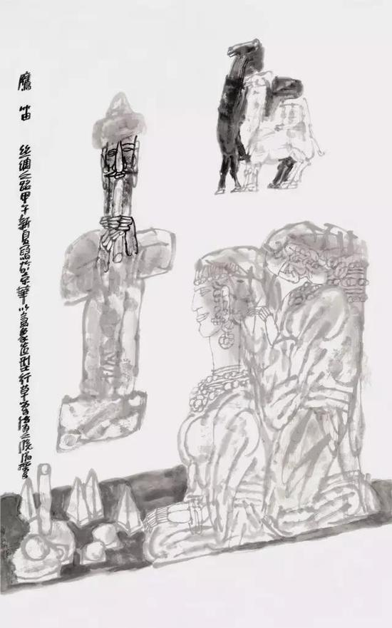 《鹰笛》纸本水墨 ?190cm×146cm ?2014年