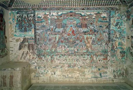 敦煌莫高窟,壁画,第217窟,观无量寿经变,宽600m /476m高,敦煌石,304年 -1271年。