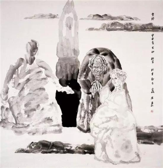 《雪域》纸本水墨??200cm×190cm ?2004年