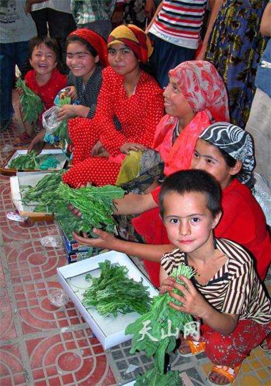 乌鲁木齐街头售卖奥斯曼草的人