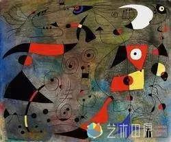 胡安·米罗《女子与鸟》1940年4月13日作