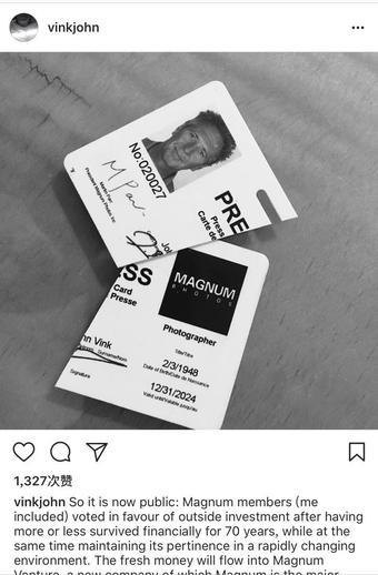 摄影师John Vink在社交媒体上发布了销毁马格南身份卡的照片