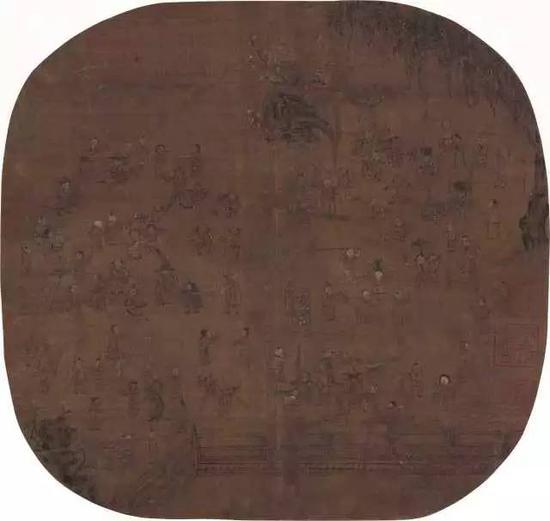 """571   佚?名(金·元)?百子图    设色绢本?镜片    鉴藏印:庞莱臣珍藏印、庾令之珍藏印、行有恒堂审定真迹    藏者简介:庞元济(1864-1949),字莱臣,号虚斋。浙江吴兴南浔人。庞元济既拥有财力,又精于鉴赏,收藏有铜器、瓷器、书画、玉器等文物,尤以书画最精被誉为""""全世界最富盛名""""的中国书画收藏大家。著有《虚斋名画录》16卷、《续虚斋名画录》4卷及《中华历代名画志》。    爱新觉罗·载铨(1794-1854):清宗室,满洲镶红旗人。乾隆玄孙。封辅国公,授御前大臣,工部尚书等。封号定郡王,室名行有恒堂,恒堂,世泽堂。藏书画甚夥,现藏上海博物馆赵孟頫《送秦少章序卷题跋》为其旧藏。    24×25.5cm?约0.6平尺    RMB: 180,000-280,000"""