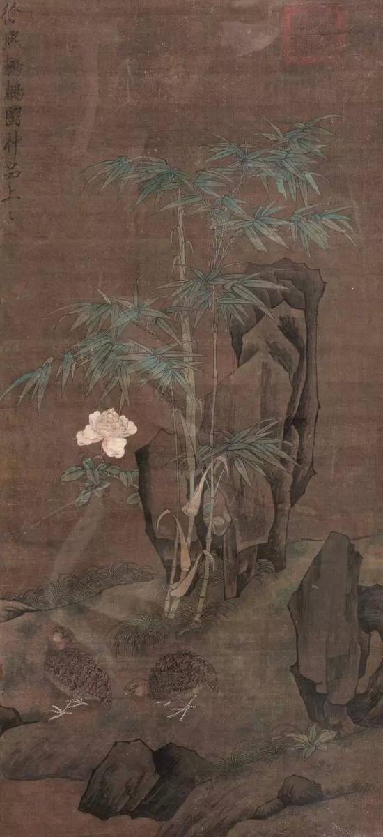 576  徐?熙(款)?鹌鹊图    设色绢本?镜框    111×50cm?约5平尺    RMB: 150,000-220,000