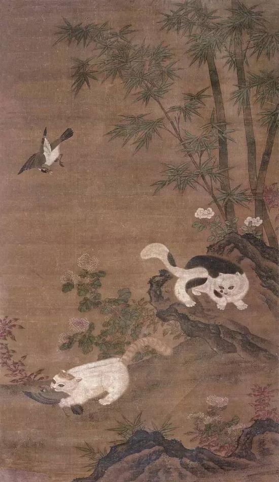 578  佚?名(明)?猫鹊图    设色绢本?立轴    177×102cm?约16.2平尺    RMB: 200,000-300,000