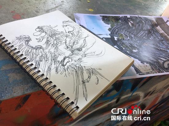 速写本上的草图和灵感来源地的照片