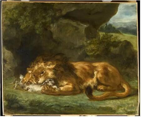 《狮子吞食兔子》(Lion dévorant un lapin),欧仁·德拉克罗瓦(Eugène Delacroix),卢浮宫博物馆,巴黎undefinedundefinedPhoto (C) RMN-Grand Palais (musée du Louvre) / René-Gabriel Ojéda