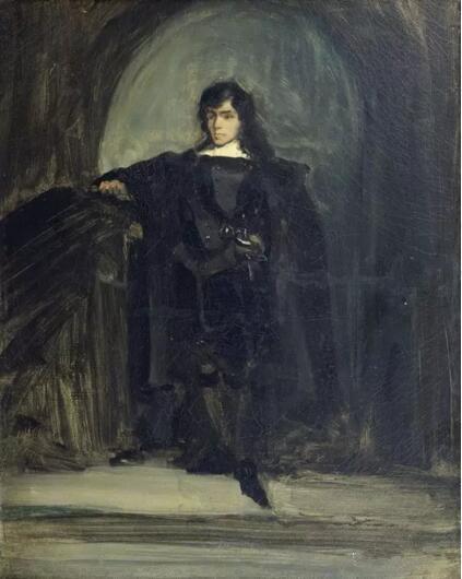 《哈姆雷特式的自画像》(Autoportrait en Hamlet),欧仁·德拉克罗瓦(Eugène Delacroix),欧仁·德拉克罗瓦国立美术馆,巴黎undefinedundefinedPhoto (C) musée national Eugène Delacroix