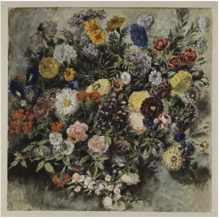 《花束》(Un Bouquet de fleurs),欧仁·德拉克罗瓦(Eugène Delacroix),欧仁·德拉克罗瓦国立美术馆,巴黎undefinedundefinedPhoto (C) RMN-Grand Palais (musée du Louvre) / Michèle Bellot