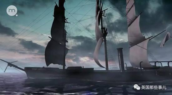 两截断裂的船体就在礁石附近和巨浪之间上下颠簸...
