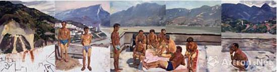 刘小东 三峡新移民 布面油画 2004