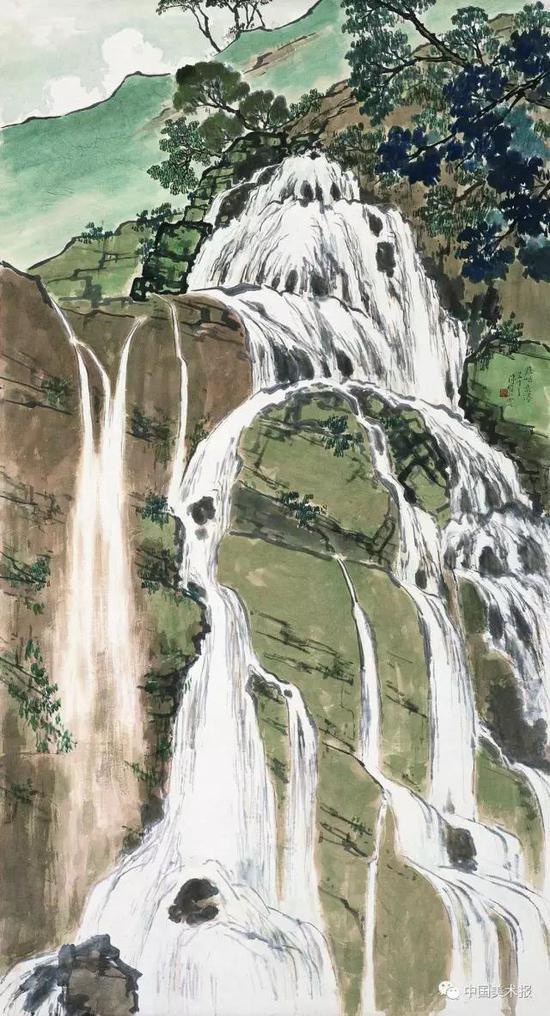 鼎湖飞瀑  陈树人  国画  1936年  中国美术馆藏