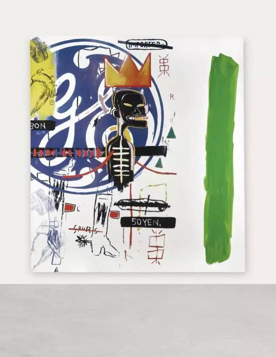 Michel Majerus对于巴斯奎亚和沃霍尔的合作的挪用,上面有额外的绿色条带,这个作品为艺术家创下了记录。图片:致谢Kenny Schachter