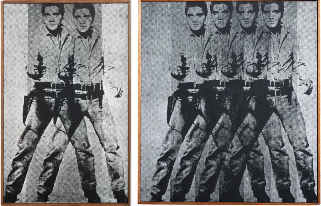 更多的猫王等于更少的钱:Richard Pettibone收藏的两个版本的沃霍尔的《猫王》,都是由苏富比售出,左边的一个价格为22.68万美元,而右边的价格则为其一半。图片:致谢Kenny Schachter