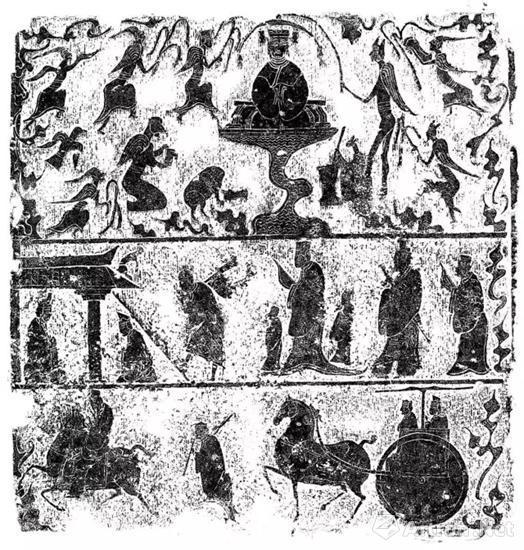 嘉祥宋山小石祠西壁画像,山东省石刻艺术博物馆,纵69cm,横67cm