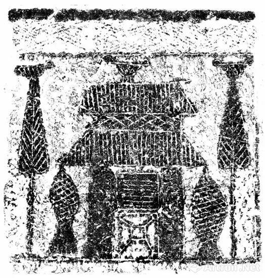平阴新屯石椁墓北挡板画像,平阴县博物馆,纵91cm,横95cm