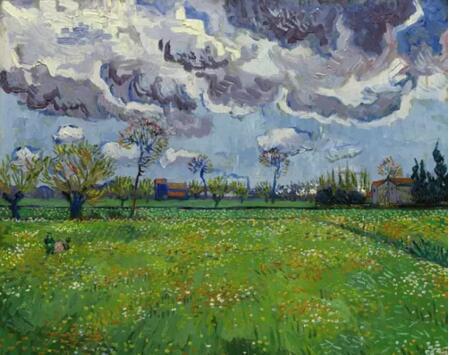 文森特·梵高《流动天空下的风景》1889