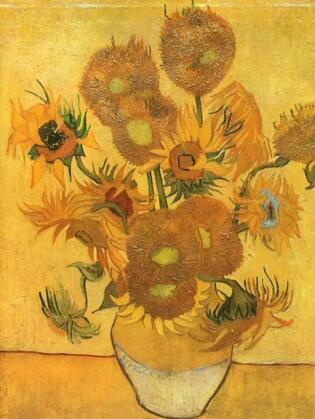 文森特 梵高《花瓶与15朵向日葵》76.4x59.2cm 1888-悲剧性的生涯