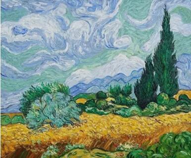 文森特·梵高《麦田与柏树》73 x 93.4 cm,1889