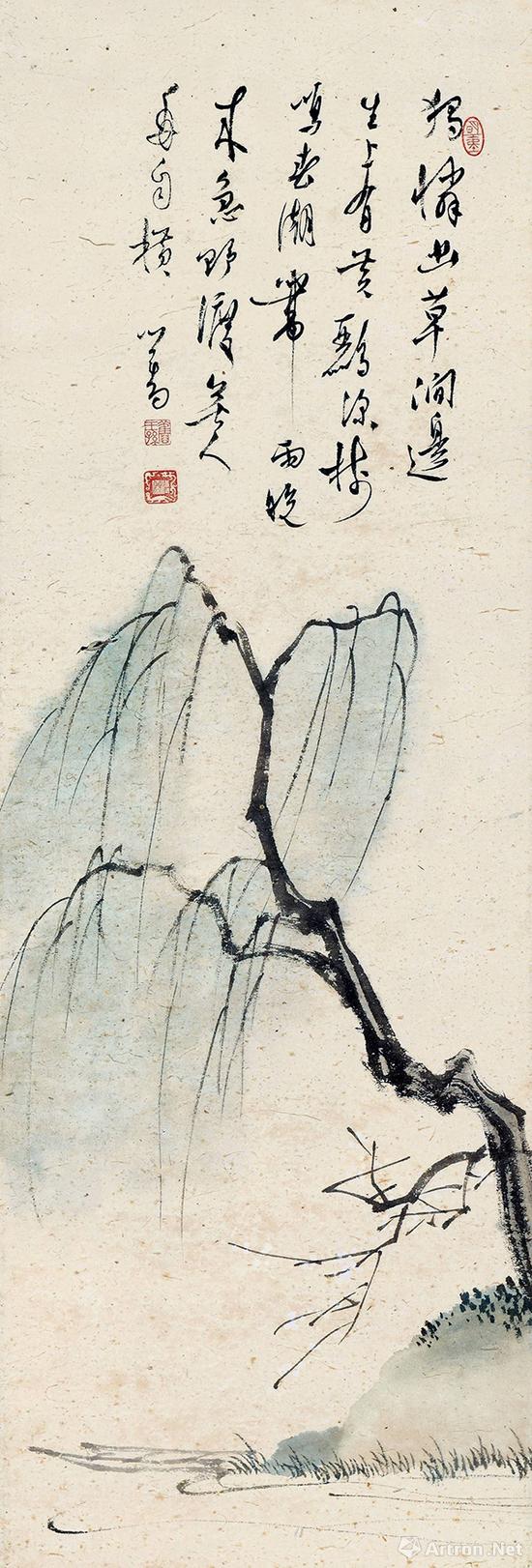 驰翰2017春拍 溥儒孤柳图 设色纸本镜框