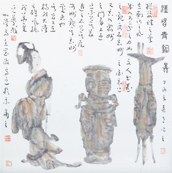 《汉宫青铜图》69X69cm