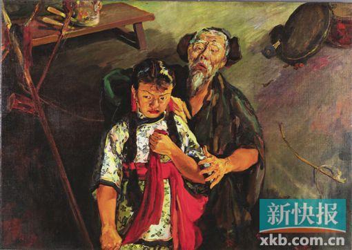 司徒乔《放下你的鞭子》 ●油画,1940年,中国美术馆藏 这是司徒乔的代表作,他抓住这一在抗日战争时期极具影响力的话剧中的舞台一幕,表现出强有力的愤怒和反抗精神,被认为是中国现实主义油画极为成功的一幅作品,作品现收藏于中国美术馆。本次展览中,《放下你的鞭子》的珍贵创作素描手稿得以亮相。