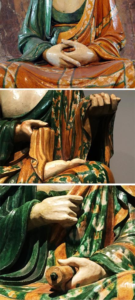 罗汉像手部局部。分别收藏于大英博物馆、大都会(年轻和老的罗汉)。
